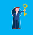 business man looking out of giant keyhole and vector image