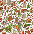 Seamless Cartoon Christmas Pattern vector image
