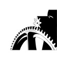 big cogwheel isolated on the white vector image
