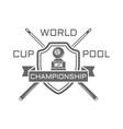 billiards championship monochrome emblem vector image vector image