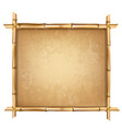 brown bamboo sticks frame with old papyrus vector image