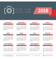 calendar for 2018 year design stationery template vector image vector image