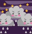 cartoon angry cloud dropping rain stars vector image