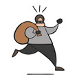 cartoon thief man with face masked vector image vector image