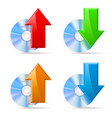 cd dvd disc icons upload and download on white vector image