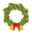 christmas tree wreath holiday decoration and vector image