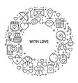 circle frame with love symbols in line style love vector image vector image