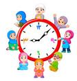 clock with children around it vector image vector image