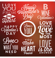 Collection of Valentines Day Typographic Designs vector image vector image