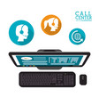 computer call center service icons vector image vector image