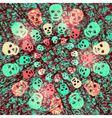 Creepy Halloween background with skulls vector image