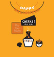 cute happy halloween banner and poison cheers card vector image vector image