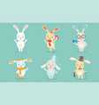 cute little bunnies characters set adorable vector image vector image