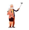 Elder grey-haired caucasian couple taking selfie vector image vector image