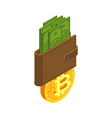 exchange bitcoin crypto currency purse stock vector image vector image