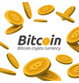 falling golden bitcoin sign on white background vector image