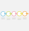 five step timeline infographic colorful circles vector image vector image