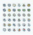 flat color thin line icons set with banking vector image