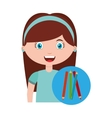 girl character student with supplies school vector image vector image