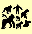 gorilla wild animal silhouette vector image