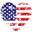 Grunge American flag heart background