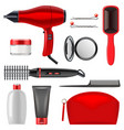 hair styling icons set 2 vector image