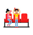 happy boy and girl sitting in the cinema and vector image vector image