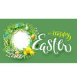 happy easter text greeting card nest wreath vector image vector image