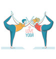 happy love couple man and woman doing yoga on vector image