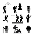 Hiking people icons vector image vector image