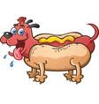 hot dog puppy cartoon character vector image vector image