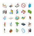 hotel isometric icons set vector image vector image