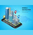 isometric smart city or mobile navigation concept vector image vector image