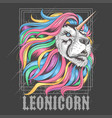 lion leo rainbow hair unicorn artwork vector image vector image