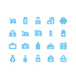 luggage blue flat line icons carry-on hardside vector image