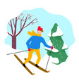 male skiing snowy downhill near spruce vector image vector image