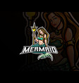 mermaid mascot esport logo design vector image vector image