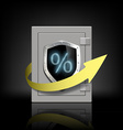 metal safe with a percent sign and arrow vector image vector image