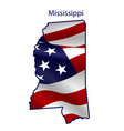 mississippi full american flag waving vector image vector image