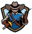 musketeer mascot logo vector image vector image