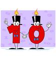 Number Ten Candles Cartoon Character vector image