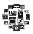 oven stove fireplace icons set simple style vector image