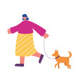 people activities young woman walking with dog vector image vector image