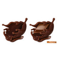 piece chocolate and chocolate splash 3d vector image vector image