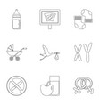 pregnancy symbols icons set outline style vector image