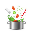 realistic detailed 3d food ingredients fly pot vector image