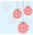 Red Christmas balls on a blue background vector image