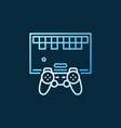 retro game with gamepad concept outline vector image vector image