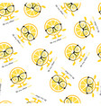 seamless pattern with lemon cute smile character vector image