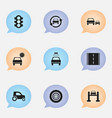 set of 9 editable transport icons includes vector image vector image